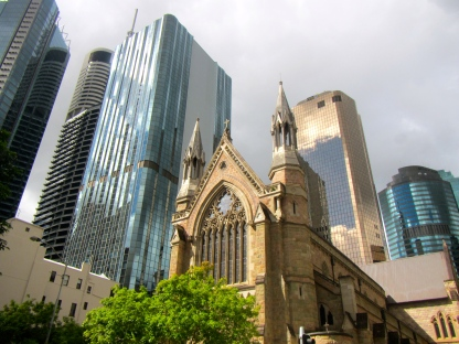 St Stephen's Cathedral & Brisbane sky scrapers