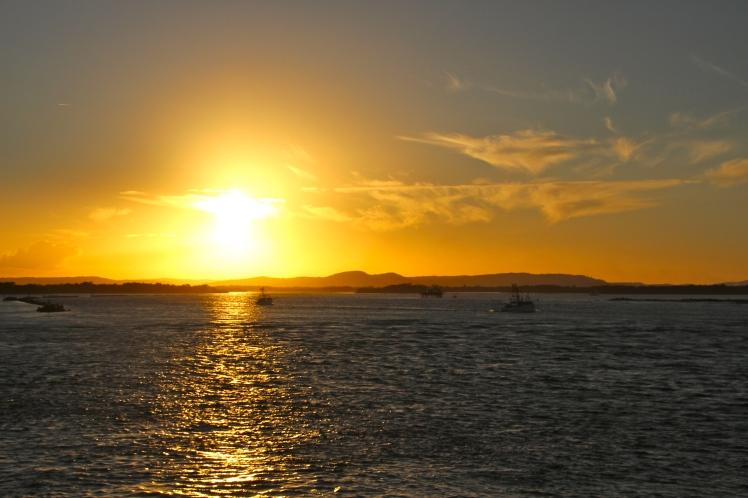 Boats at Yamba, Sunset