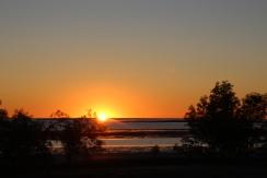 Sinking sun on the horizon
