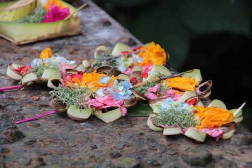 Offerings in Ubud at the bridge