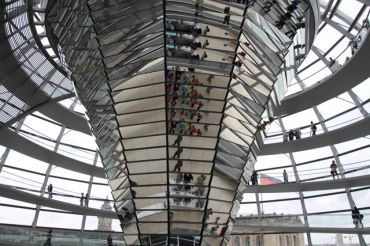 Inside the dome at the Reichstag
