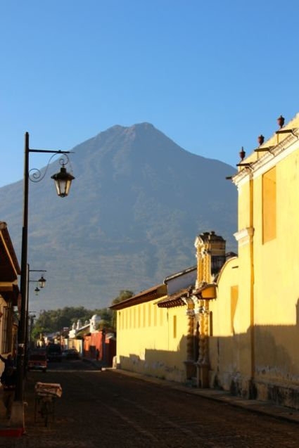 In the morning shadow of Agua Volcano