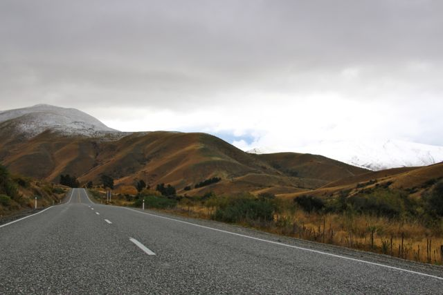 A little snow on the horizon, leaving Lindis Pass