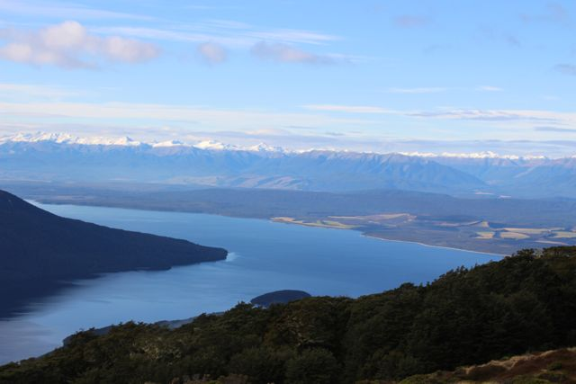 Early evening views of Lake Te Anau from Luxmore Hut