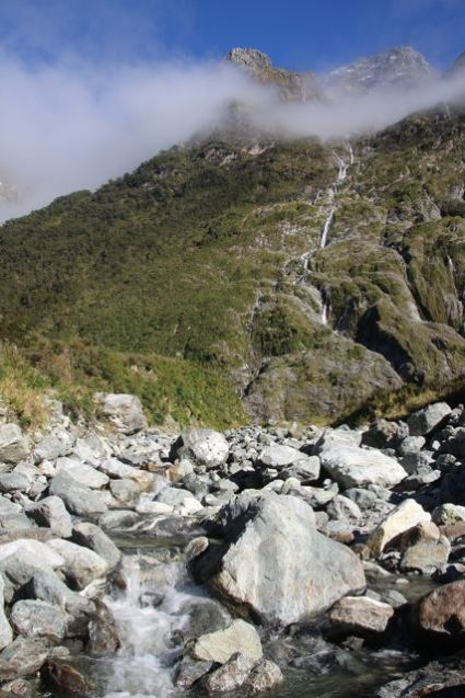 Dry creek beds and waterfalls