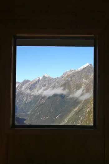 Views from the window of the shelter at MacKinnon Pass