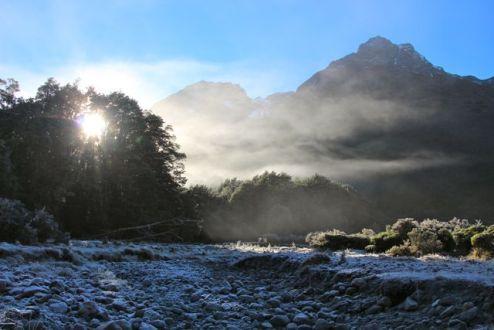 Frosty morning as the sun breaks through