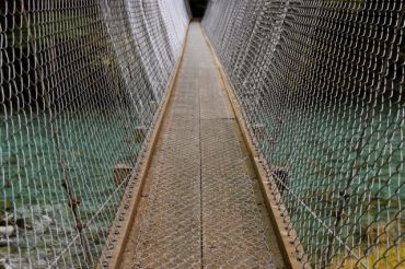 Swing bridge across the Caples river