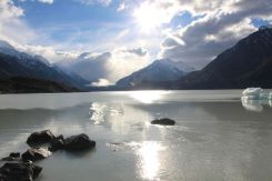 The titanic would have nothing to fear from these icebergs in Lake Tasman