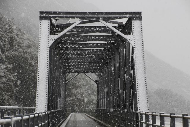 Snowy bridge on Tasman Valley Road