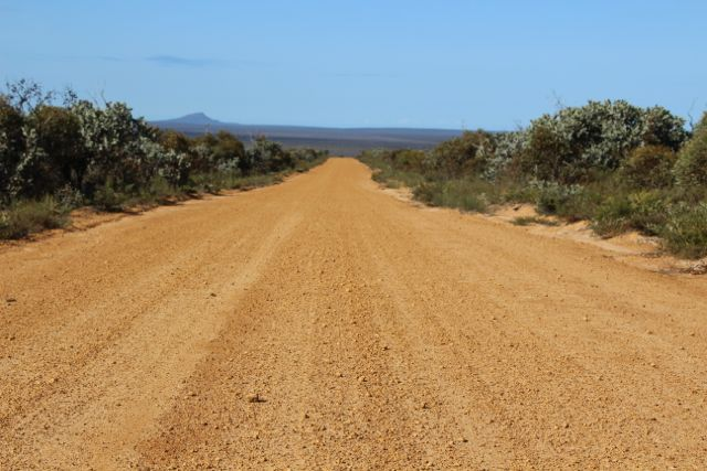 Driving along Rabbit Proof Fence Road