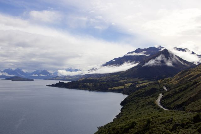 Driving to Kinloch from Queenstown alongside Lake Wakatipu