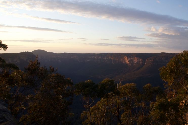 Dawn light across the Blue Mountains