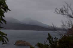Misty outlines of of Mt Freycinet