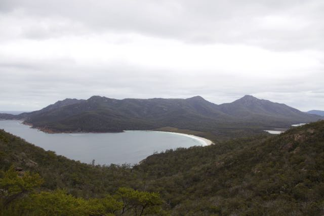 Peering over Wine Glass Bay from the lookout